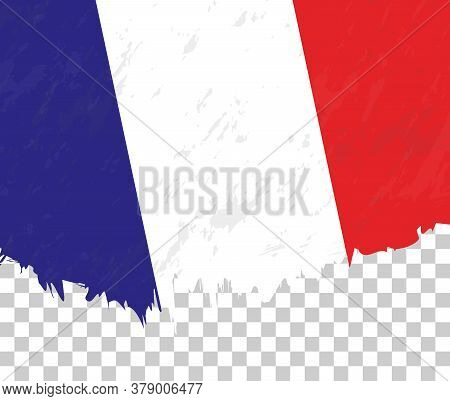 Grunge-style Flag Of France On A Transparent Background. Vector Textured Flag Of France For Vertical
