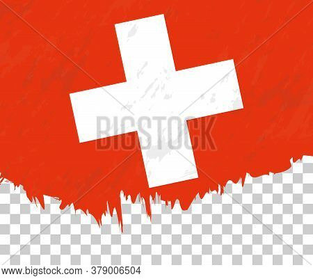 Grunge-style Flag Of Switzerland On A Transparent Background. Vector Textured Flag Of Switzerland Fo