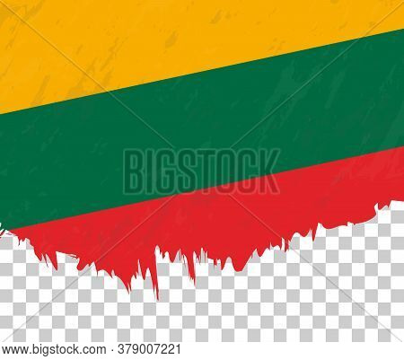Grunge-style Flag Of Lithuania On A Transparent Background. Vector Textured Flag Of Lithuania For Ve