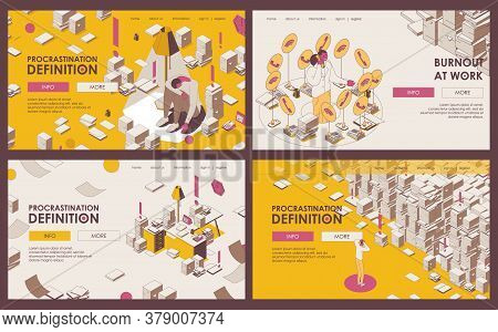 Set Of Outline Banners Or Landing Page Templates About Procrastination, Deadline, Burnout And Lots O