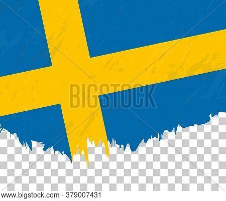 Grunge-style Flag Of Sweden On A Transparent Background. Vector Textured Flag Of Sweden For Vertical