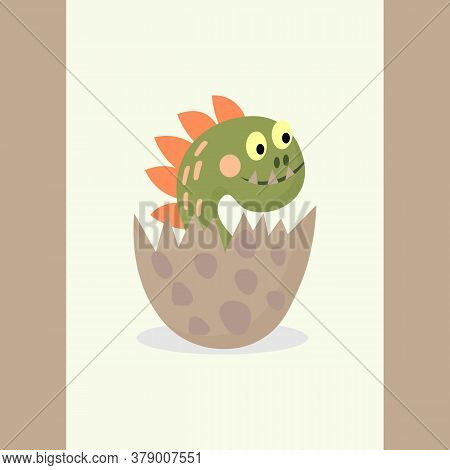 Cute Dinosaur In An Egg, Isolated On White Background. Little Cool Dino, Child Concept. Vector Carto