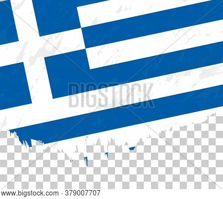 Grunge-style Flag Of Greece On A Transparent Background. Vector Textured Flag Of Greece For Vertical