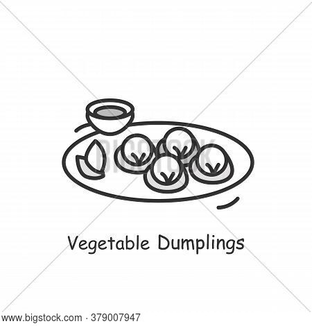 Vegetarian Dumplings Icon. Chinese Vegetable Streamed Or Deep Fried Buns Plate With Sour Or Sauce Li