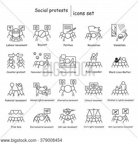 Social Protest Icons Set. Social Movements And Activism Linear Pictograms. Illustration Of Civil Rig