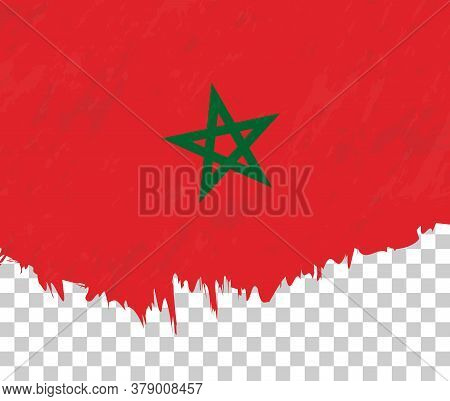 Grunge-style Flag Of Morocco On A Transparent Background. Vector Textured Flag Of Morocco For Vertic