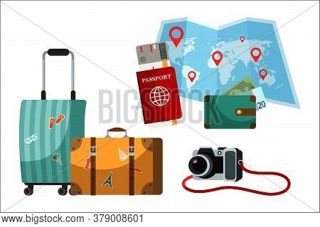 Touristic Accessory And Attributes Set. Suitcase, Paper World Map, Passport, Purse, Camera. Objects