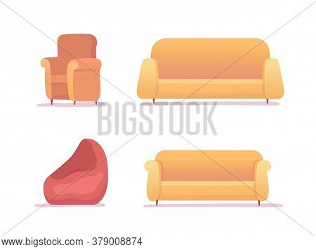 Furniture For Rest And Relax Set Isolated On White Background. Sofa, Couch, Armchair, Soft Bag Chair
