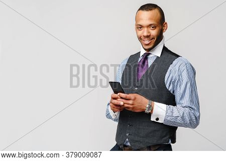 Professional African-american Business Man Holding Mobile Phone
