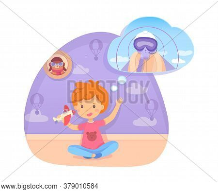 Boy Playing With Toy Plane Dreaming Being Pilot In Future. Happy Cute Child Sitting On Floor In Bedr