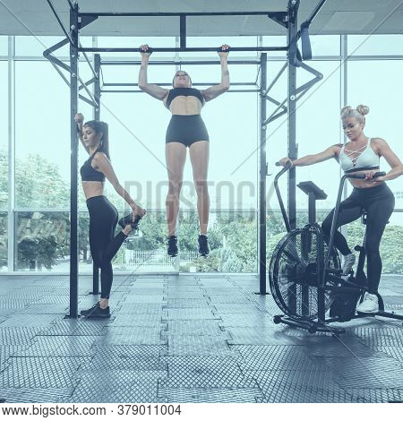 Group Of Strong Active Female Athletes Having Training In Modern Gym, Image With Cold Vintage Toning