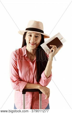 Asian Women Long Hair Wear Straw Hat In Hand Holding Passport Book And Travel Bag. Female Ready To T