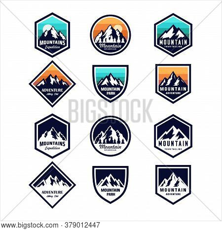Bundle Set Of Vintage Retro Badges Mountain Logo With Variety Style Element. Camping Labels Concepts