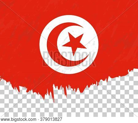 Grunge-style Flag Of Tunisia On A Transparent Background. Vector Textured Flag Of Tunisia For Vertic