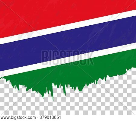 Grunge-style Flag Of Gambia On A Transparent Background. Vector Textured Flag Of Gambia For Vertical
