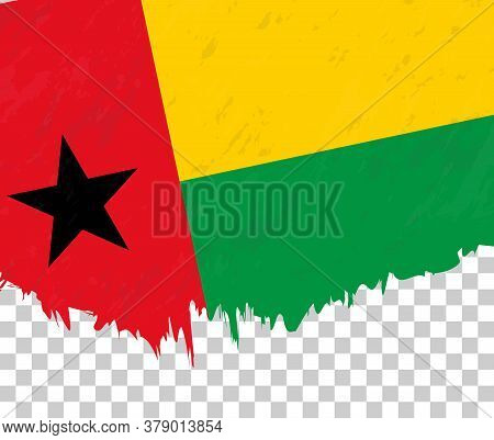 Grunge-style Flag Of Guinea-bissau On A Transparent Background. Vector Textured Flag Of Guinea-bissa