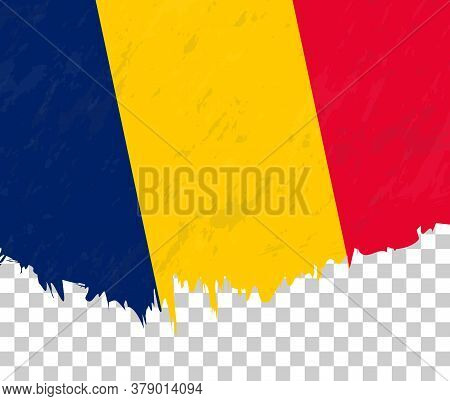 Grunge-style Flag Of Chad On A Transparent Background. Vector Textured Flag Of Chad For Vertical Des
