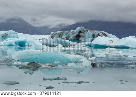 View Of The Jokulsarlon Glacial Lagoon, Southern Vatnajakull Glacier. Vatnajokull National Park, Ice