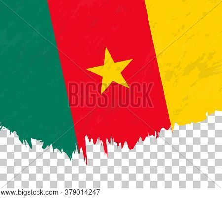 Grunge-style Flag Of Cameroon On A Transparent Background. Vector Textured Flag Of Cameroon For Vert