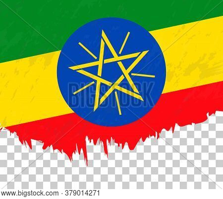 Grunge-style Flag Of Ethiopia On A Transparent Background. Vector Textured Flag Of Ethiopia For Vert