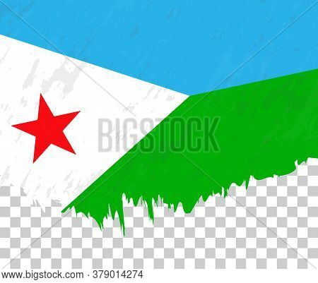 Grunge-style Flag Of Djibouti On A Transparent Background. Vector Textured Flag Of Djibouti For Vert