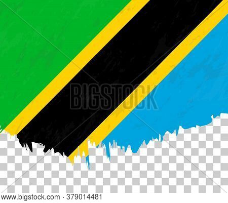 Grunge-style Flag Of Tanzania On A Transparent Background. Vector Textured Flag Of Tanzania For Vert