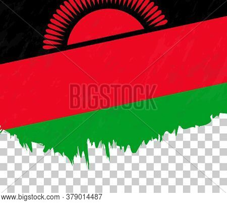 Grunge-style Flag Of Malawi On A Transparent Background. Vector Textured Flag Of Malawi For Vertical