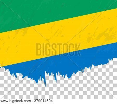 Grunge-style Flag Of Gabon On A Transparent Background. Vector Textured Flag Of Gabon For Vertical D