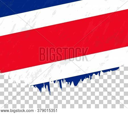 Grunge-style Flag Of Costa Rica On A Transparent Background. Vector Textured Flag Of Costa Rica For