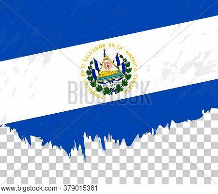 Grunge-style Flag Of El Salvador On A Transparent Background. Vector Textured Flag Of El Salvador Fo