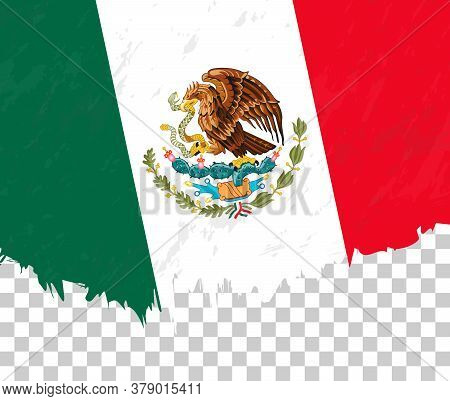 Grunge-style Flag Of Mexico On A Transparent Background. Vector Textured Flag Of Mexico For Vertical