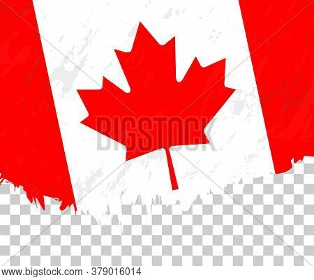 Grunge-style Flag Of Canada On A Transparent Background. Vector Textured Flag Of Canada For Vertical