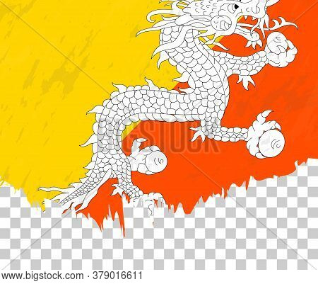 Grunge-style Flag Of Bhutan On A Transparent Background. Vector Textured Flag Of Bhutan For Vertical