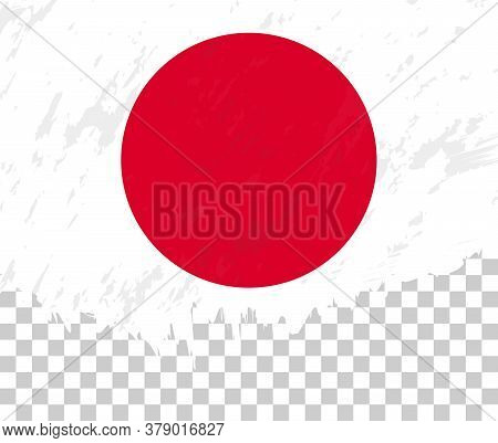 Grunge-style Flag Of Japan On A Transparent Background. Vector Textured Flag Of Japan For Vertical D