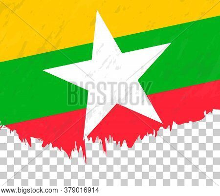 Grunge-style Flag Of Myanmar On A Transparent Background. Vector Textured Flag Of Myanmar For Vertic