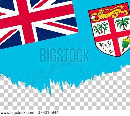 Grunge-style Flag Of Fiji On A Transparent Background. Vector Textured Flag Of Fiji For Vertical Des