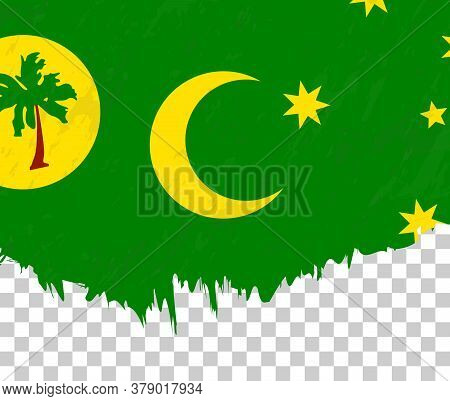 Grunge-style Flag Of Cocos Islands On A Transparent Background. Vector Textured Flag Of Cocos Island