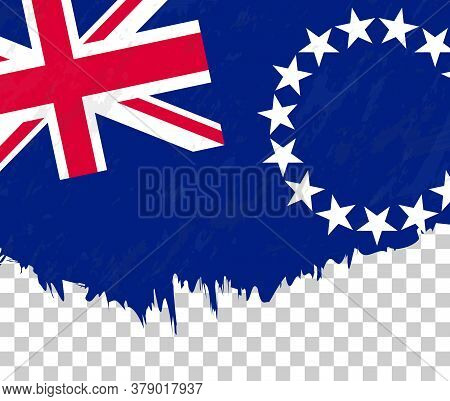 Grunge-style Flag Of Cook Islands On A Transparent Background. Vector Textured Flag Of Cook Islands