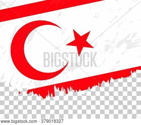 Grunge-style Flag Of Northern Cyprus On A Transparent Background. Vector Textured Flag Of Northern C