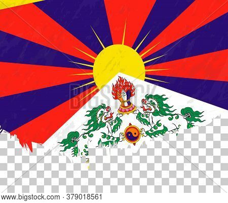 Grunge-style Flag Of Tibet On A Transparent Background. Vector Textured Flag Of Tibet For Vertical D