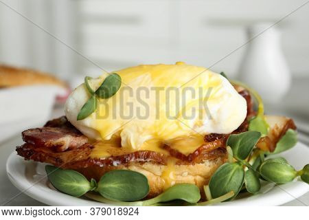 Delicious Egg Benedict With Sprouts Served On Plate