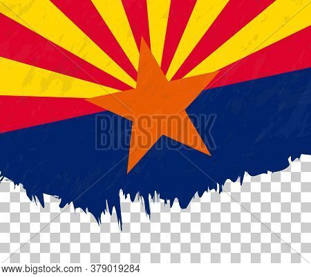 Grunge-style Flag Of Arizona On A Transparent Background. Vector Textured Flag Of Arizona For Vertic