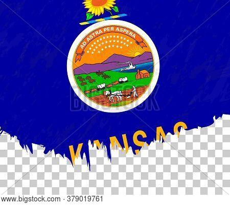 Grunge-style Flag Of Kansas On A Transparent Background. Vector Textured Flag Of Kansas For Vertical