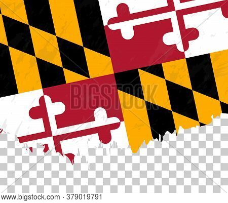 Grunge-style Flag Of Maryland On A Transparent Background. Vector Textured Flag Of Maryland For Vert