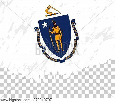 Grunge-style Flag Of Massachusetts On A Transparent Background. Vector Textured Flag Of Massachusett