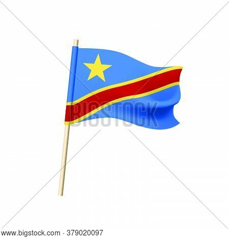 Democratic Republic Of The Congo Flag. Star And Red Diagonal Stripe In Yellow Border On Blue Backgro