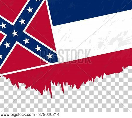 Grunge-style Flag Of Mississippi On A Transparent Background. Vector Textured Flag Of Mississippi Fo