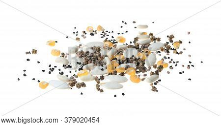 Mix Of Vegetable Seeds On White Background