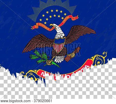 Grunge-style Flag Of North Dakota On A Transparent Background. Vector Textured Flag Of North Dakota