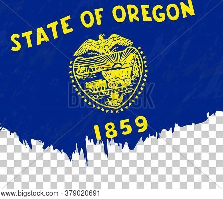 Grunge-style Flag Of Oregon On A Transparent Background. Vector Textured Flag Of Oregon For Vertical
